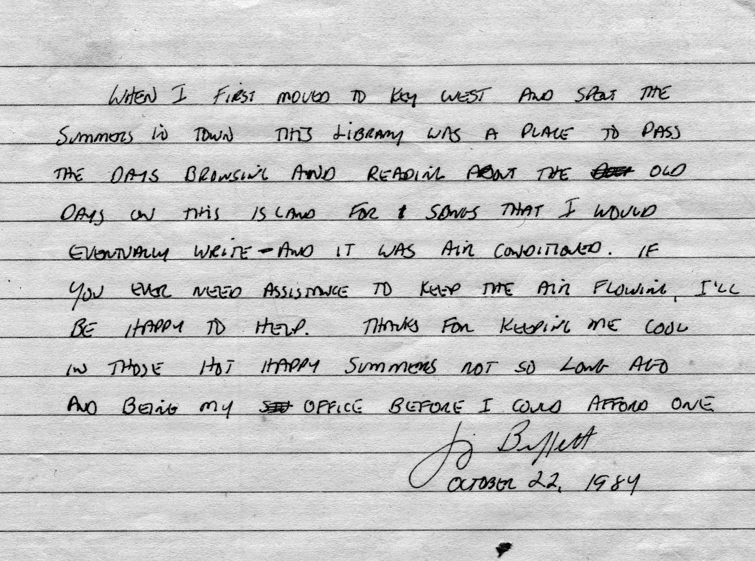Jimmy Buffett's handwritten note to Key West library (1989)