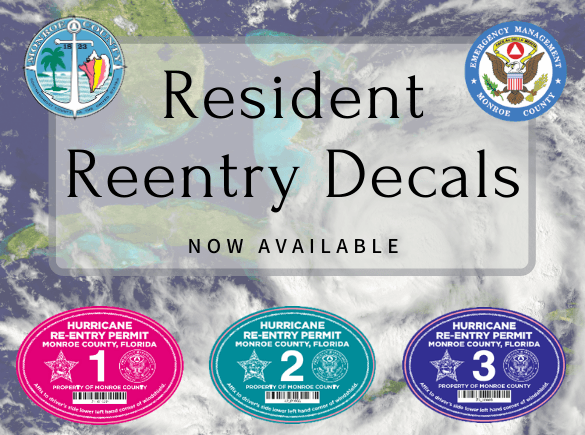 "Reentry Sticker Decals in a picture with a hurricane background ""available now"""