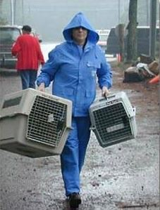 Person Carrying Pet Carriers